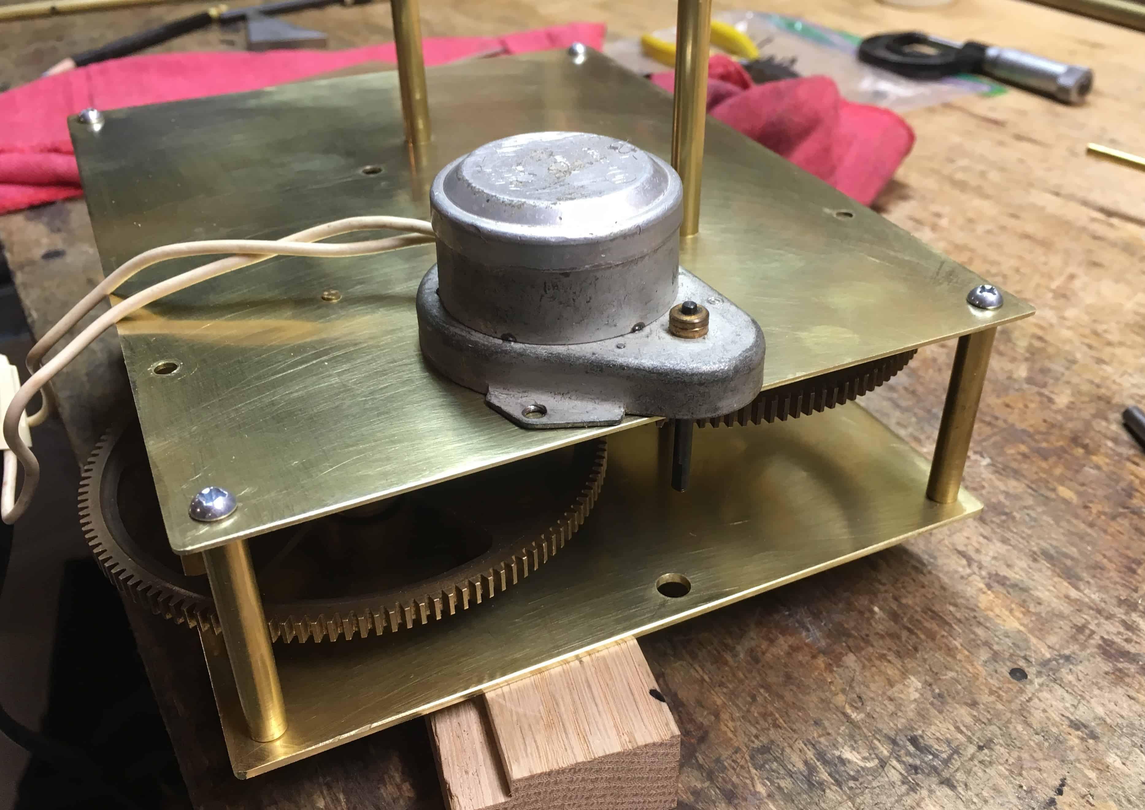 Orrery Clock motor hole drilled