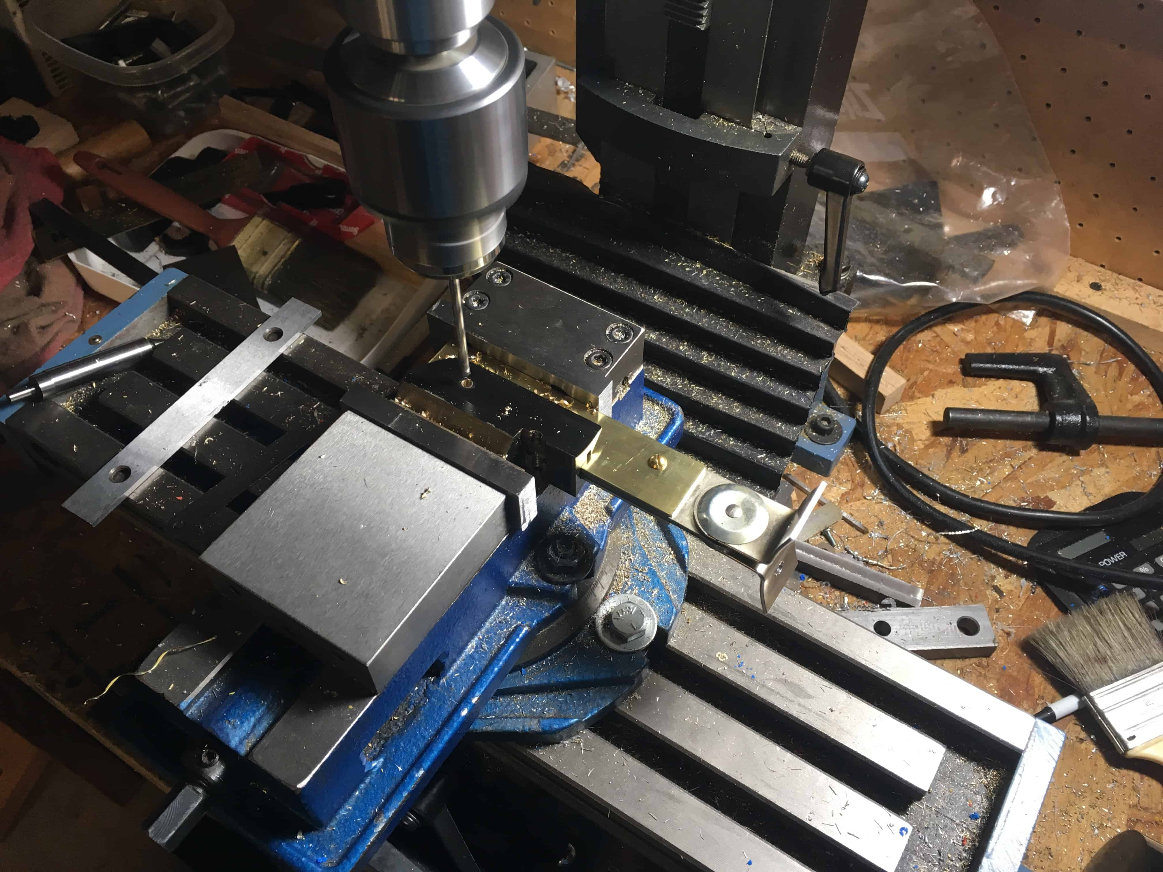Drilling micrscope slide and handle+brass